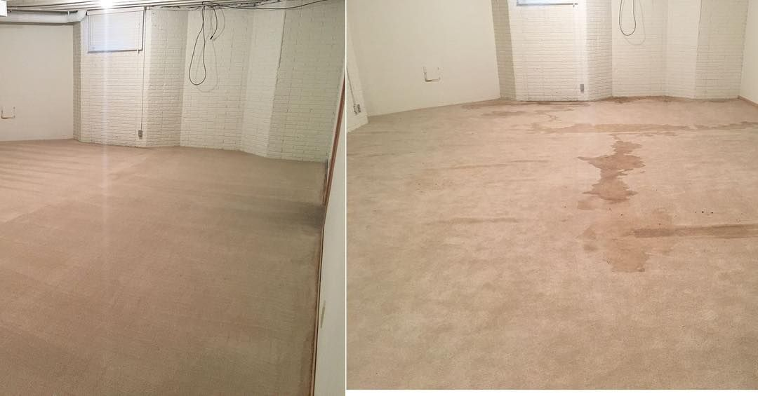 This is a before and after picture of water damage. PureCare crews pulled the carpet