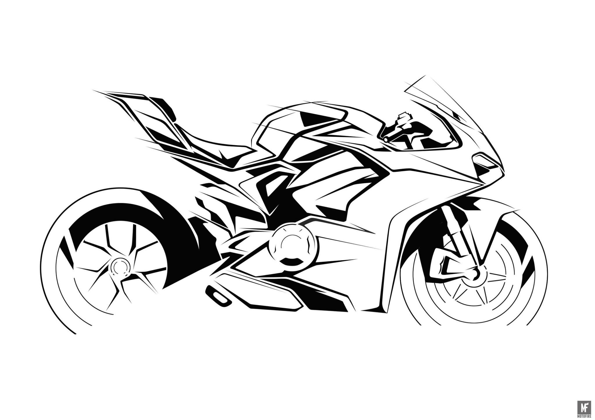 Ducati Panigale V4 Clement Motorcycle Sketch Pinterest
