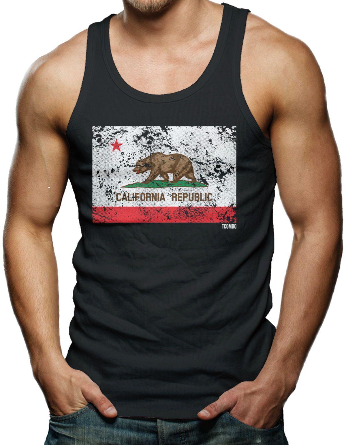 Cali Bear Pride Distressed Men/'s Tank Top T-shirt California Republic Flag