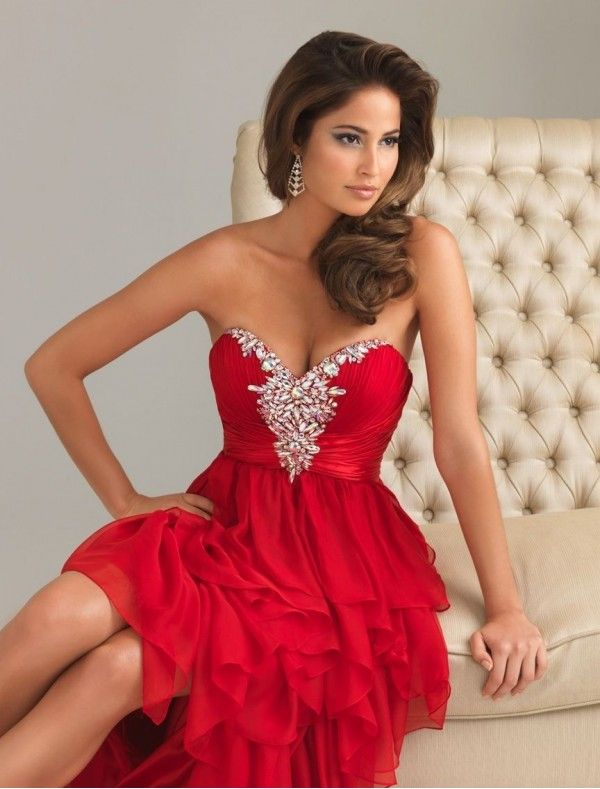 Chiffon Sweetheart Strapless Neckline Column Prom Dress with ...