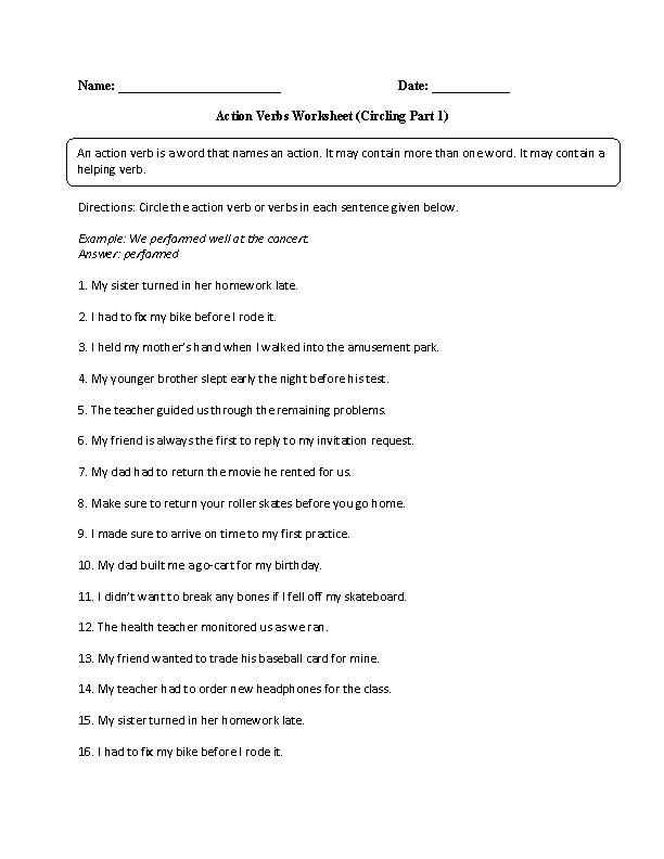 Circling Action Verb Worksheet Action Verbs Worksheet Action Verbs Verb Worksheets