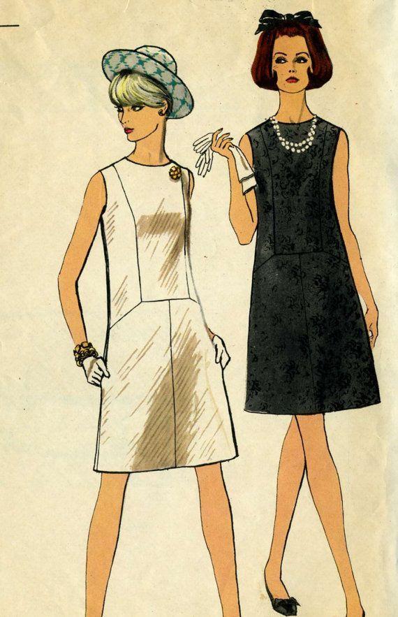 Vintage 60s Vogue 7284 CUT Misses Seam Detail A- Line Dress Sewing ...