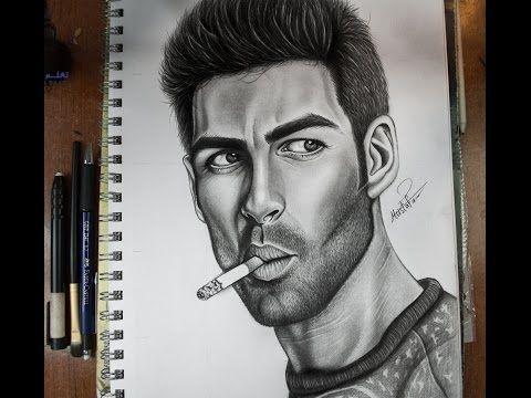 كيفية رسم بورتريه لرجل مع لحية خفيفة بالرصاص How To Draw Portrait Youtube Pencil Drawings Pencil Portrait Drawings