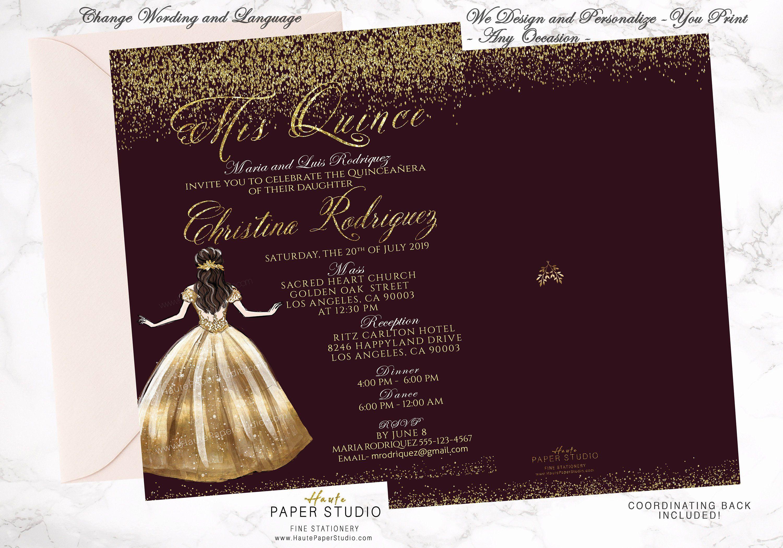 49b7aaf149 Gold Burgundy Invite Quince Años Burgundy Quince Quinceanera Invite Sweet  16 Invite 18 Birthday Gold Invitation Invitación Quince BDQ039