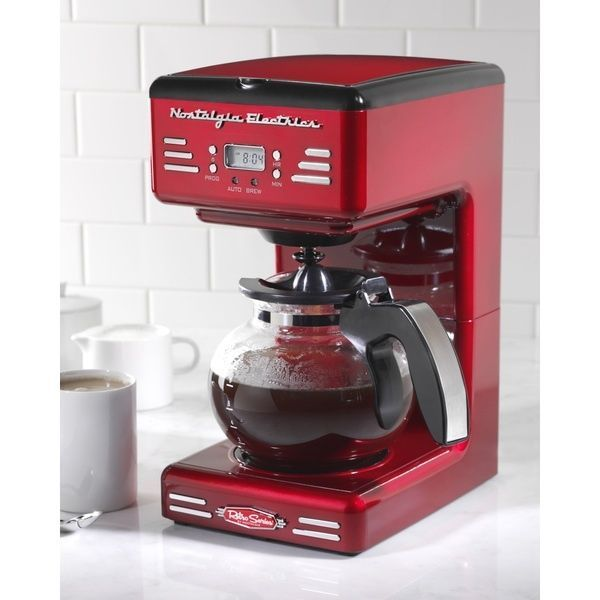 Nostalgia Retro Series Drip Coffee Maker 12 Cup Red 50 S Style Programmable New Nostalgia Red Coffee Maker Coffee Maker Reviews Home Coffee Stations