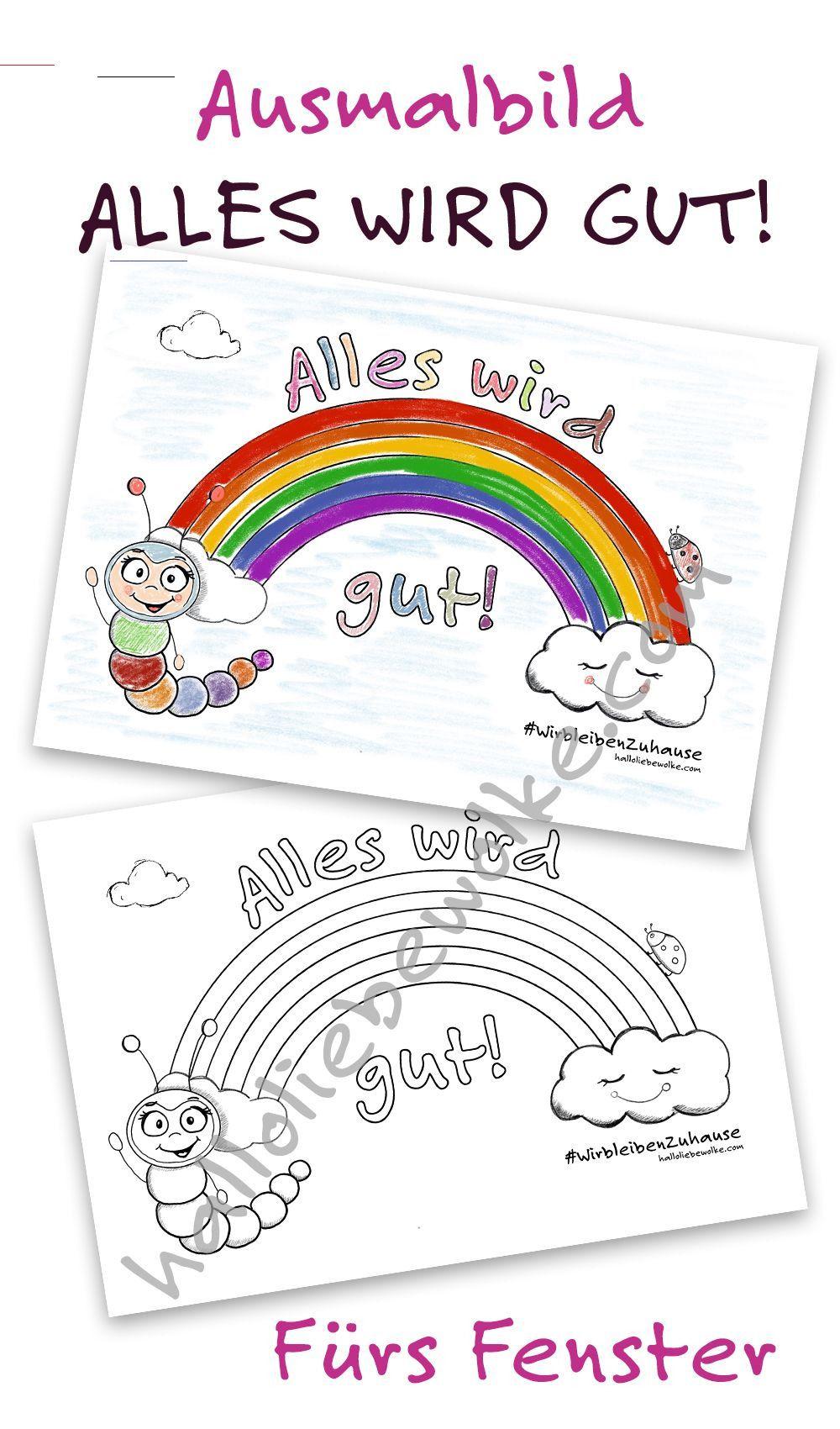 Alles Wird Gut Ausmalbild Regenbogen Corona Von Wilma Wochenwurm Freebie Weihnachtenba Coloring Pictures Kindergarten Art Projects Free Coloring Pictures