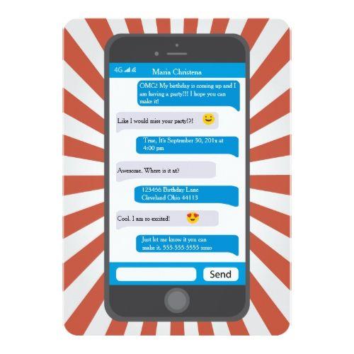Smartphone emoji teen texting birthday invitation birthday smartphone emoji teen texting birthday invitation filmwisefo