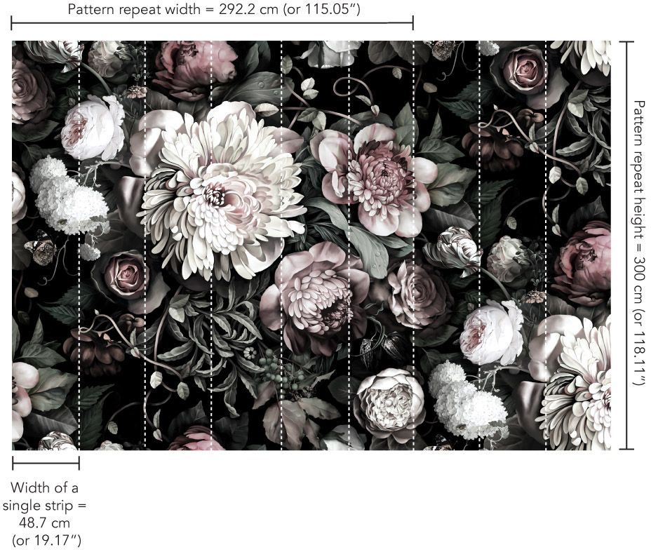 Dark Floral II Black Desaturated XXL (300) Wallpaper