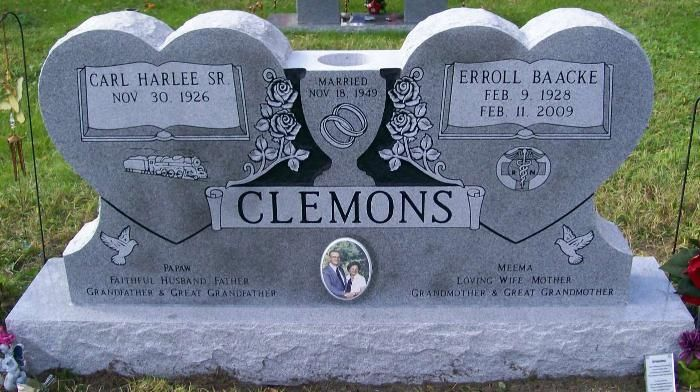 Companion Granite Monument Clemons Double Heart Integrated Vase Porcelain Portrait Frosted Book Name Panels Cemetery Headstones Tombstone Designs Headstones