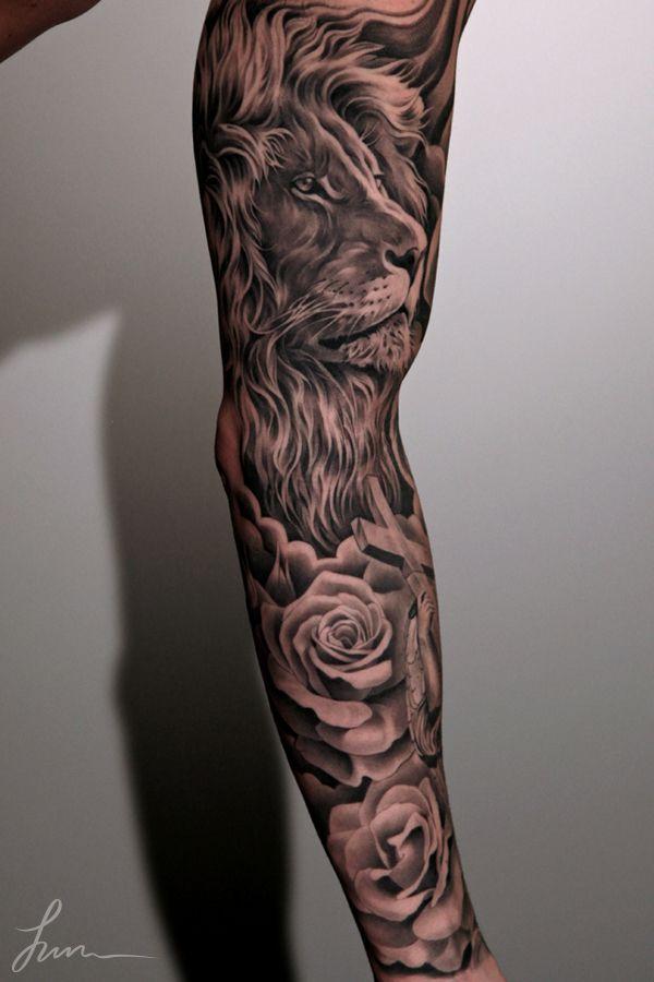 Lion Right Arm Lamb Left Arm Sleeve Tattoos Men Flower Tattoo Best Sleeve Tattoos