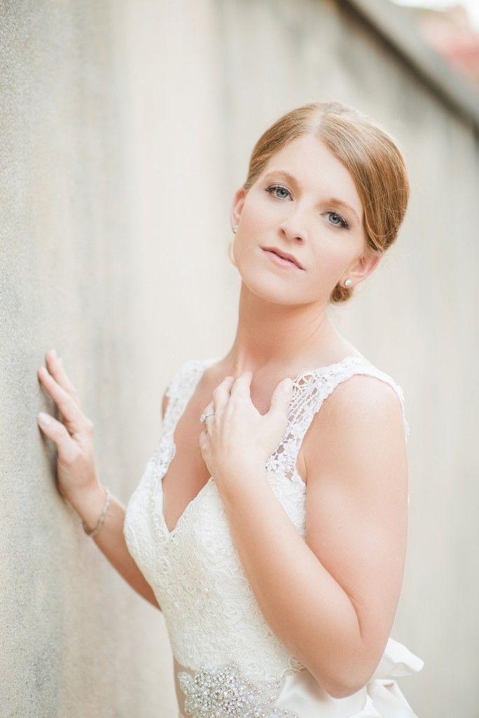 Lace bodice and satin train bridal dress Charleston, SC bridal ...