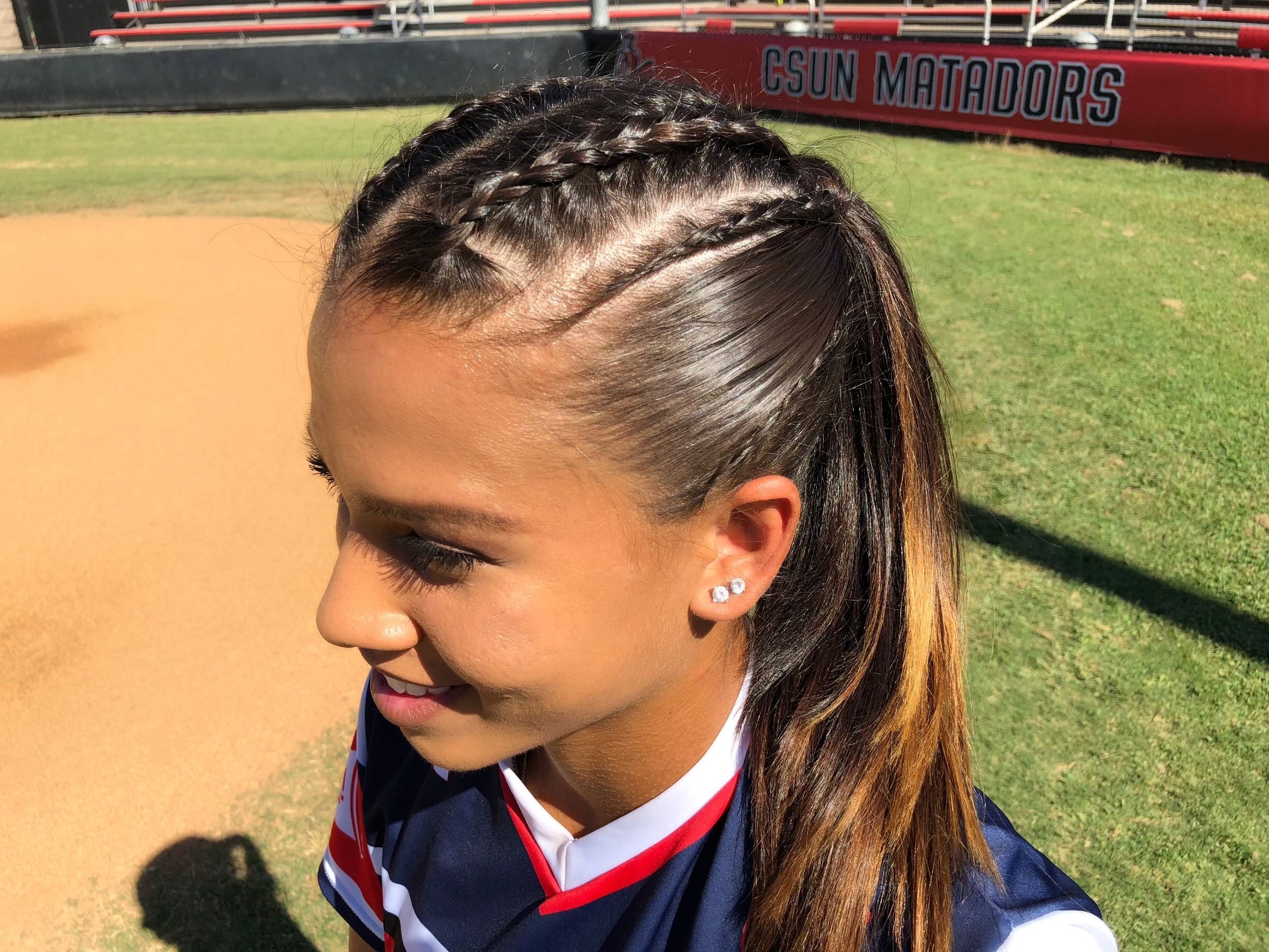 Softball Hairstyle Braids Athletic Hairstyles Sports Hairstyles Softball Hairstyles