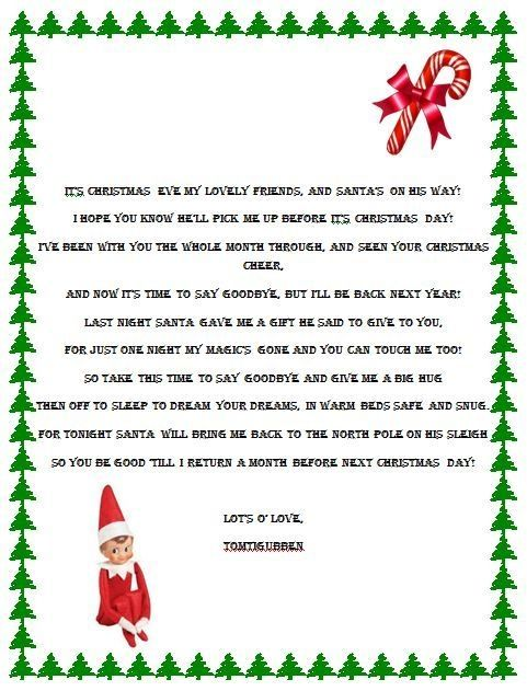 Elf on the Shelf Goodbye Poemthis is a good one too since we do a