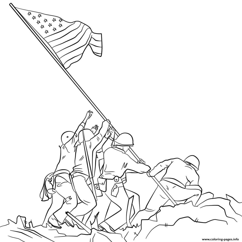 Print Raising The Flag On Iwo Jima Coloring Pages Printable Coloring Pages Coloring Pages Flag Drawing