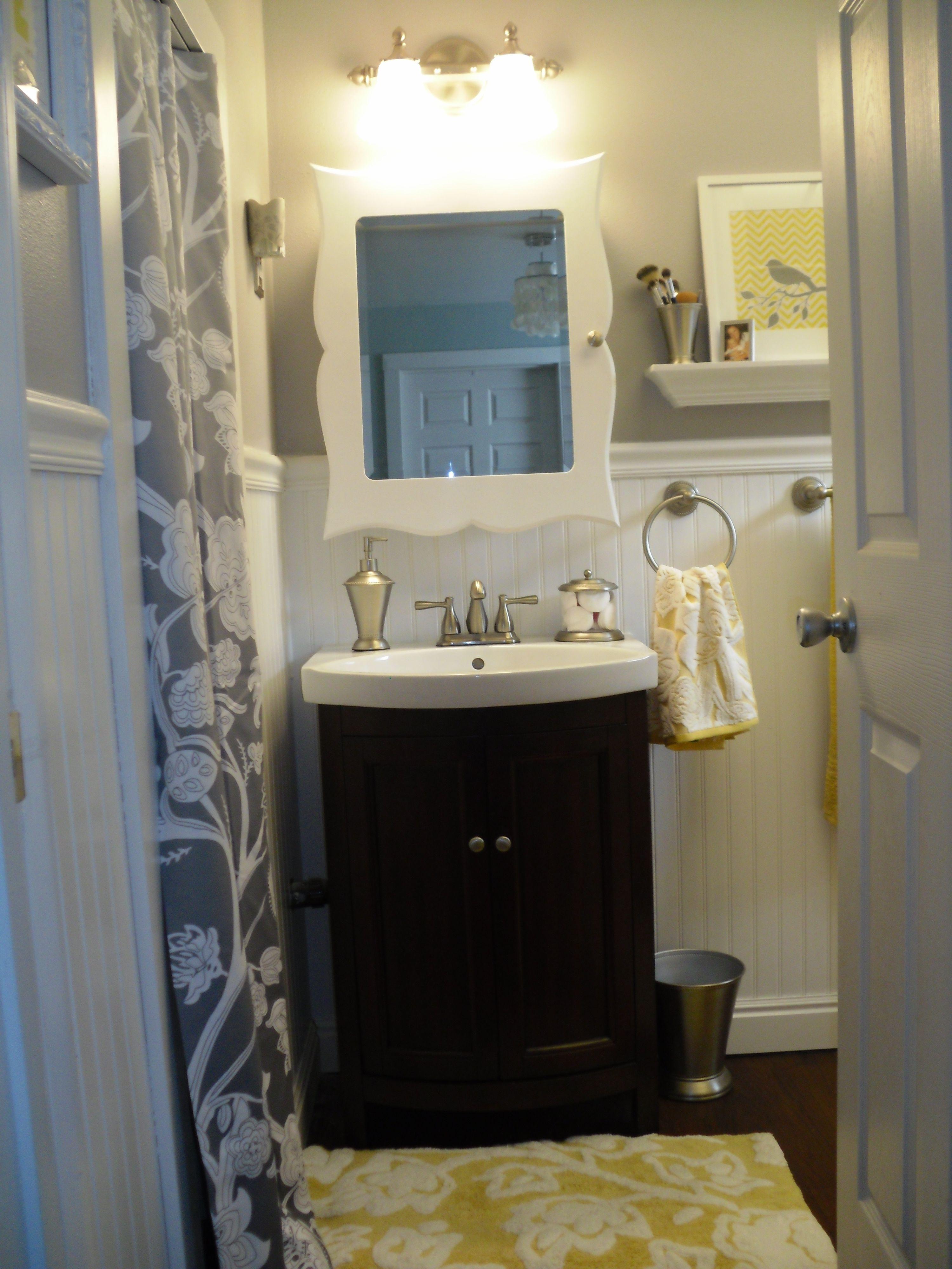 My New Bathroom Gray Grey Yellow Small Bathroom Beadboard Yellow Bathrooms Yellow Bathroom Decor Yellow Bathroom Walls