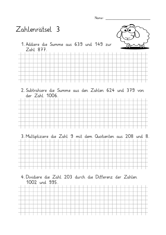 Zahlenrätsel Klasse 20 20 Begriffe Summe, Differenz, Produkt und ...