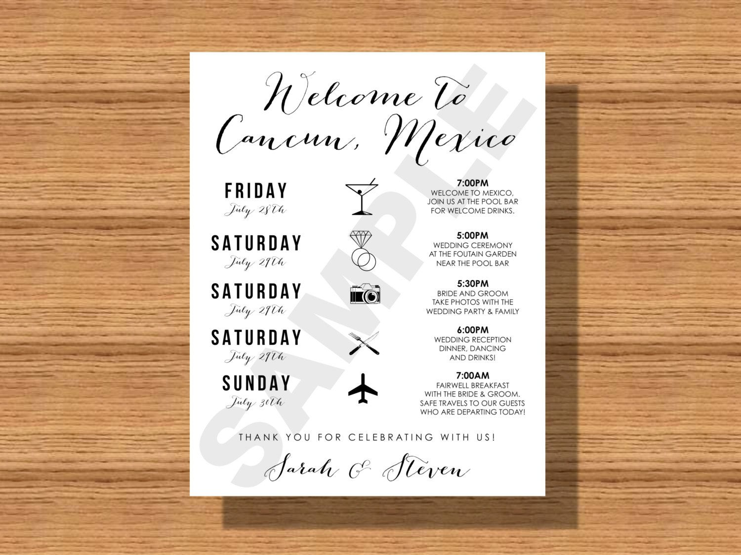 Wedding weekend schedule of events wedding weekend itinerary wedding weekend schedule of events wedding weekend itinerary with welcome note wedding details for guests printable wedding schedule by junglespirit Images