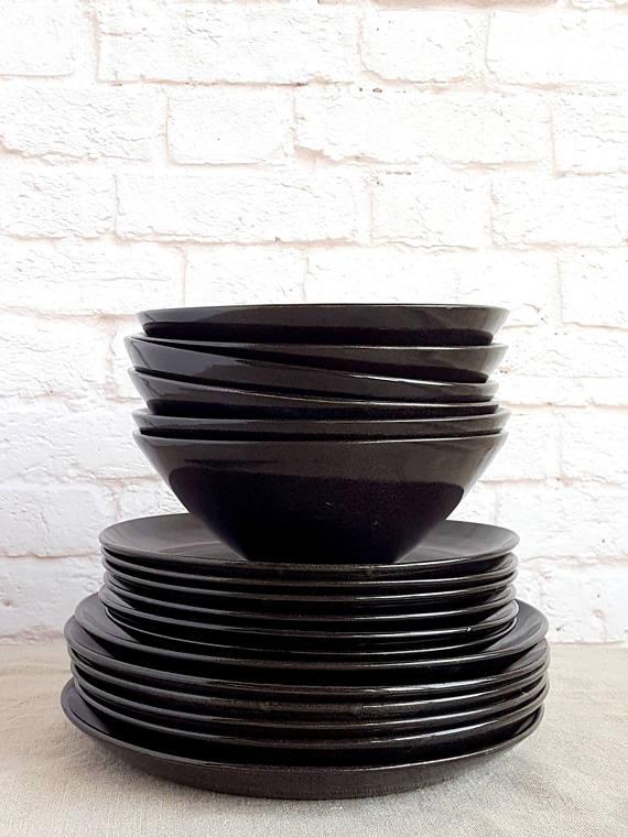 Ceramic Dinnerware Black Dinnerware Black Dinner Plate Set Black Dinner Plates Black & Black Pottery Dinnerware Stoneware Plate Black Dinner Plate Black ...