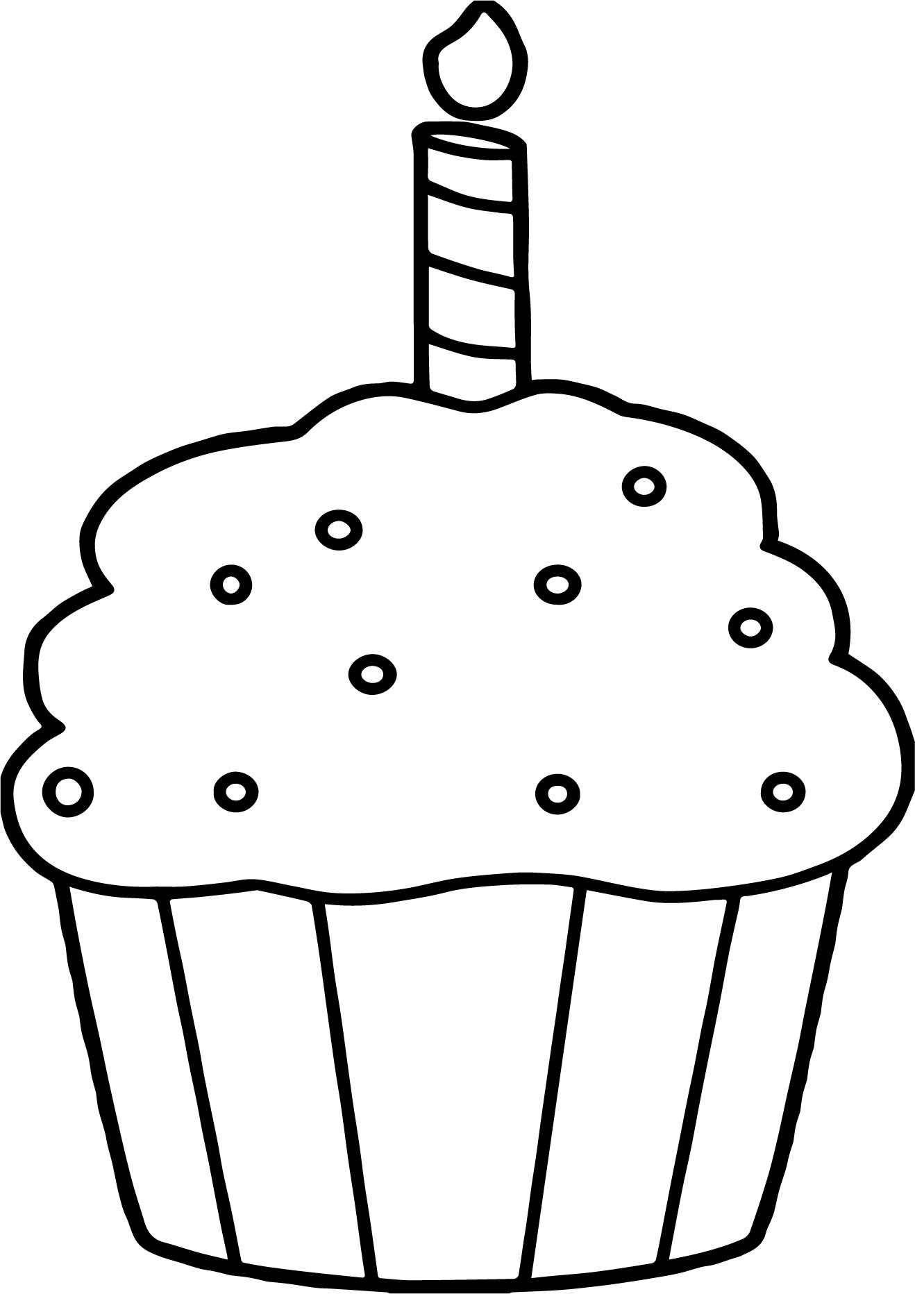 Cool Birthday Cupcake Coloring Page