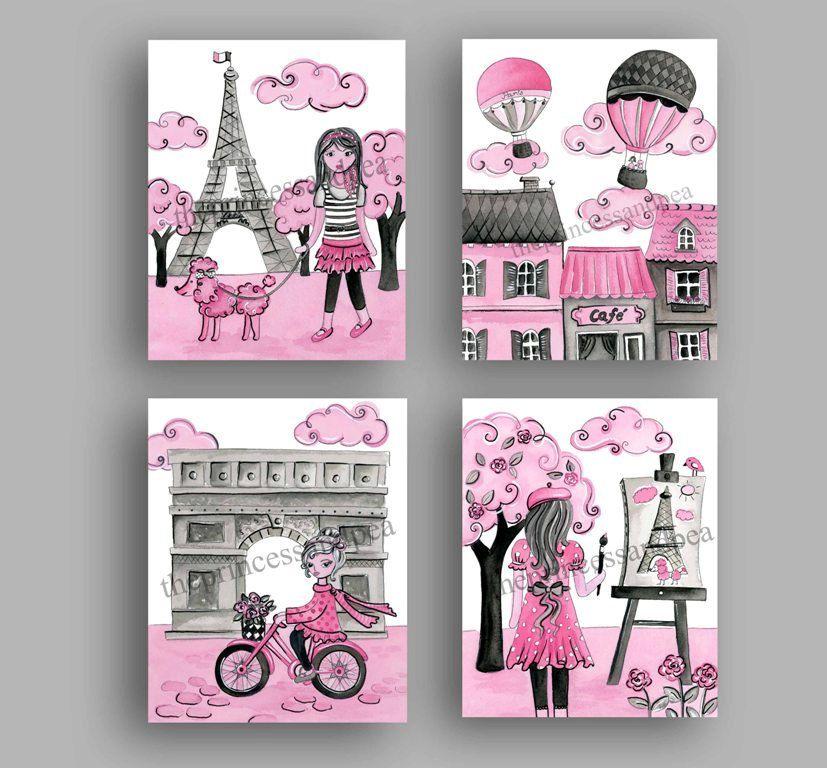 Chica gris rosa vivero arte decoraci n par s decoraci n for Decoracion habitacion nina gris y rosa
