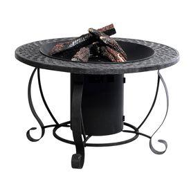 garden treasures btu 2992in charcoal finish steel liquid propane fire pit