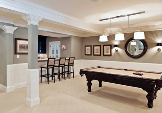 Basement Living Room With Pool Table And Bar Home And Garden