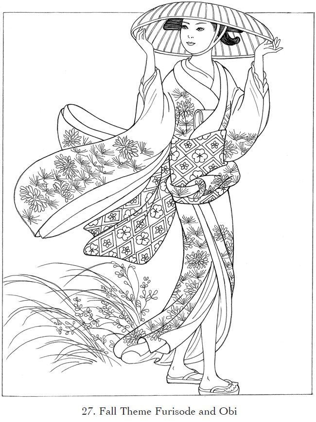 Creative Haven Japanese Kimono Designs Coloring Book | Coloring ...