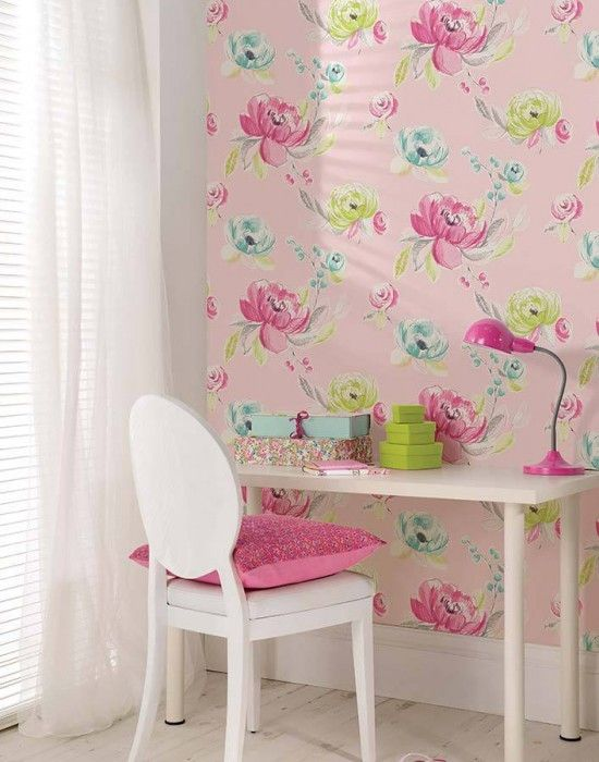 Wallpaper Seraphine Wallpaper From The 70s Girls Bedroom Wallpaper Pink Wallpaper Bedroom Girls Room Decor