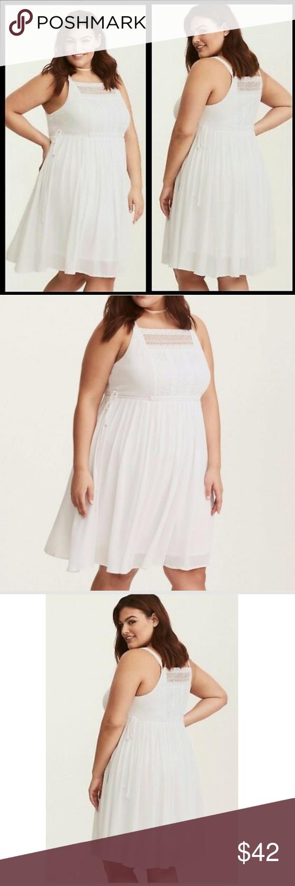 Torrid White Gauze Crochet Inset Skater Dress Skater Dress Dresses Torrid Dresses