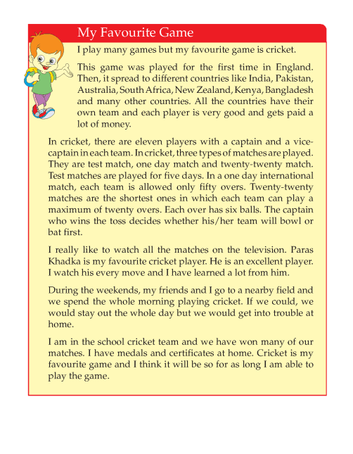 4th Grade Narrative Essay My Favourite Game Sample Writing Skill English Reading Comprehension Lessons Favorite Relative Family Member Sister Sport Person