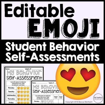 Emoji Behavior Charts  Self Assessments (Editable) Emoji - student self assessment