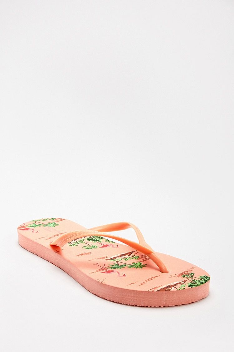 c0a8a188e1a Forever21 - Flamingo   Palm Tree Print Flip Flops