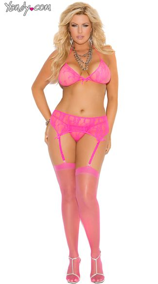468fec5fbb Plus Size Stretch Lace Halter Bra