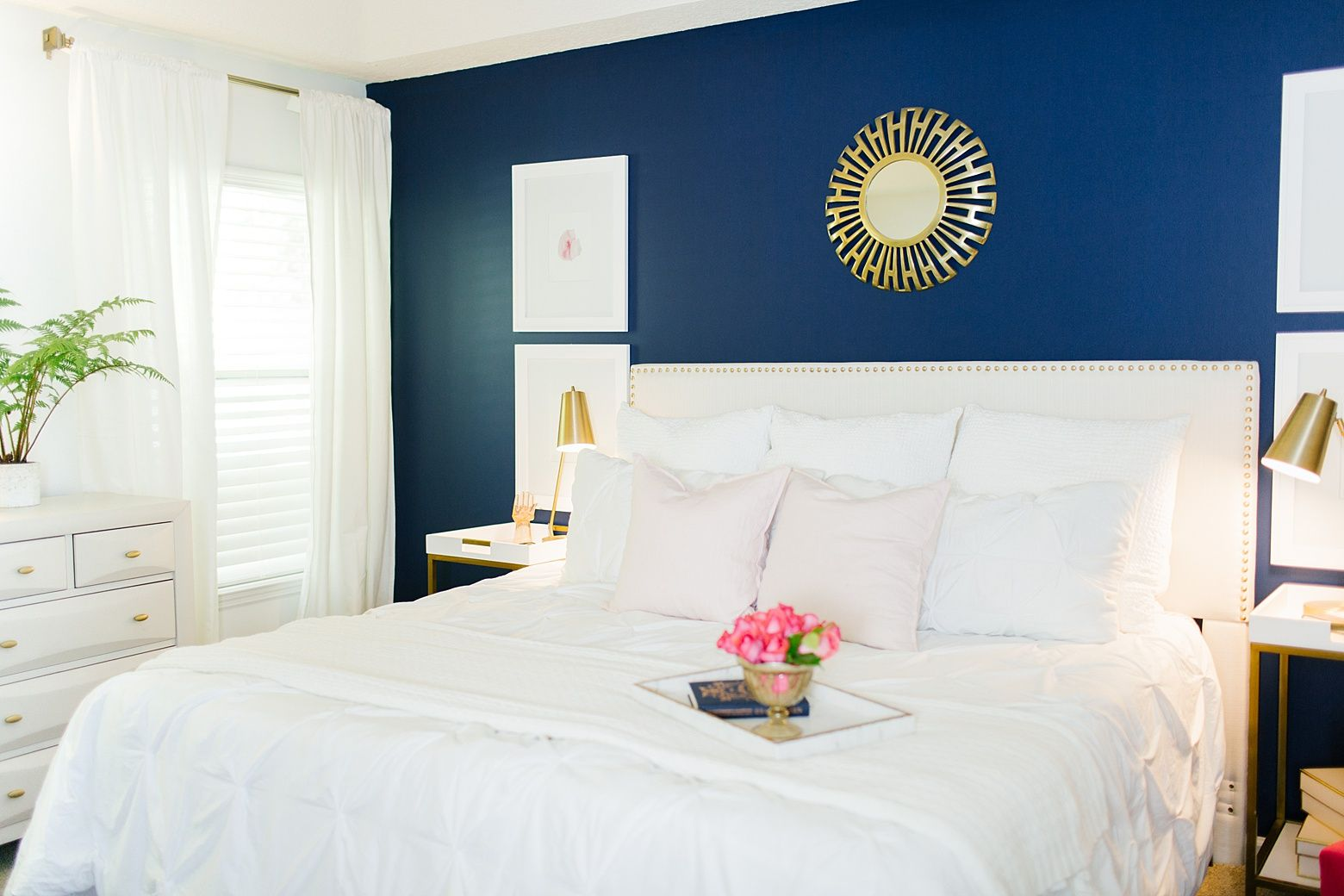 Modern Navy and Pink Master Bedroom - Fifth Home Bliss ...
