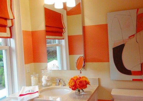 Orange Striped Bathroom Yes Please