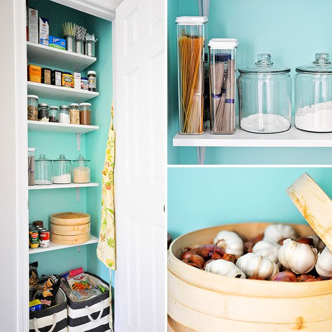 A small closet can easily be transformed into a pantry space by ...