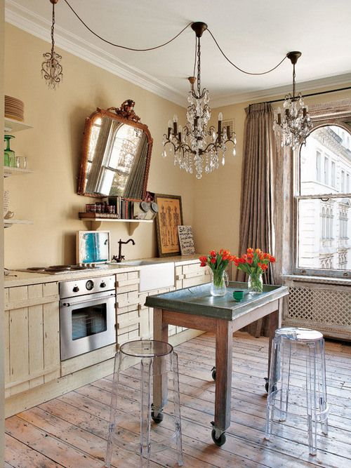 rustic and glam. Love the stools