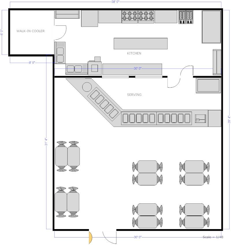 Restaurant kitchen with counter seating floor plan