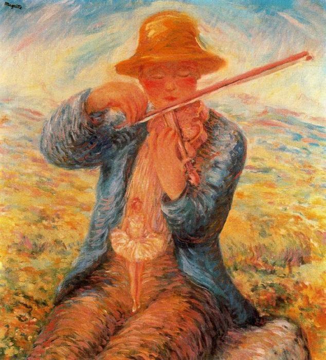 El primer día, 1943, Margritte. Quizá la más cercana de estas obras al los cuadros que pintó Renoir al final de su vida en Les Colettes. La idea del placer y la plenitud domina la escena, sin renunciar por ello al efecto poético de la bailarina justo en el lugar del sexo del violinista.