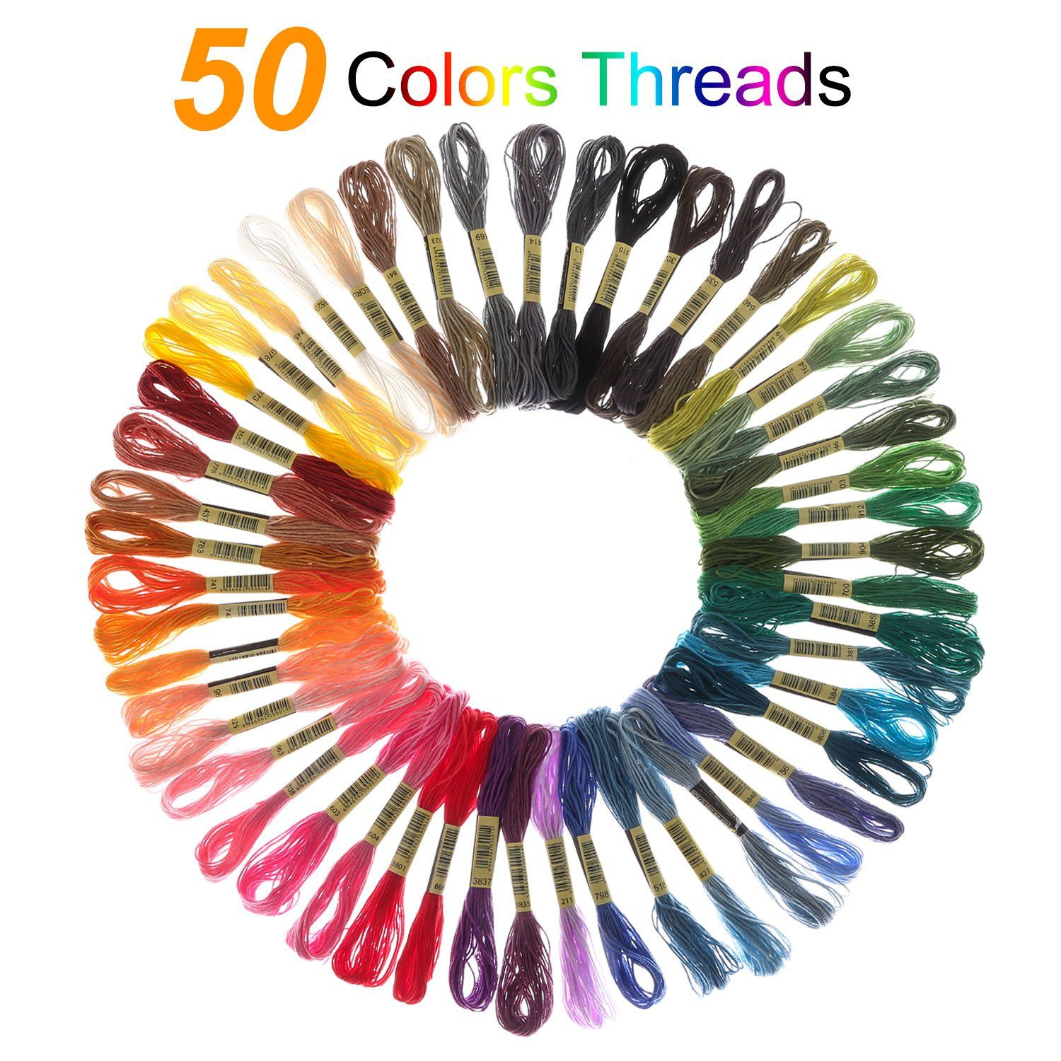 5 Bamboo Hoop Full Set Embroidery Cross Stitching Starter Kit ////50 Color Thread