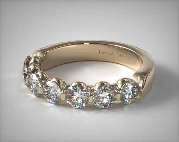 18k Yellow Gold 1 50ctw Seven Stone Share G Diamond Anniversary Ring H