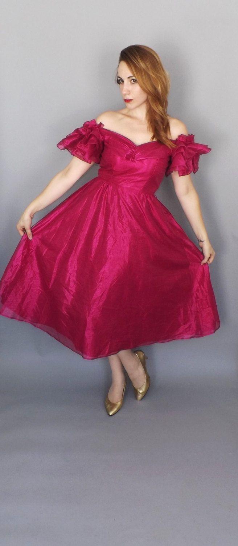 Vintage magenta size medium us sequin prom dress short tutu dress