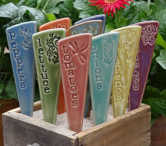 3 Plant Markers plant markers- READY TO SHIP You pick your set of 3 ceramic garden stakes Ceramic Herb /& Vegetable Garden Markers