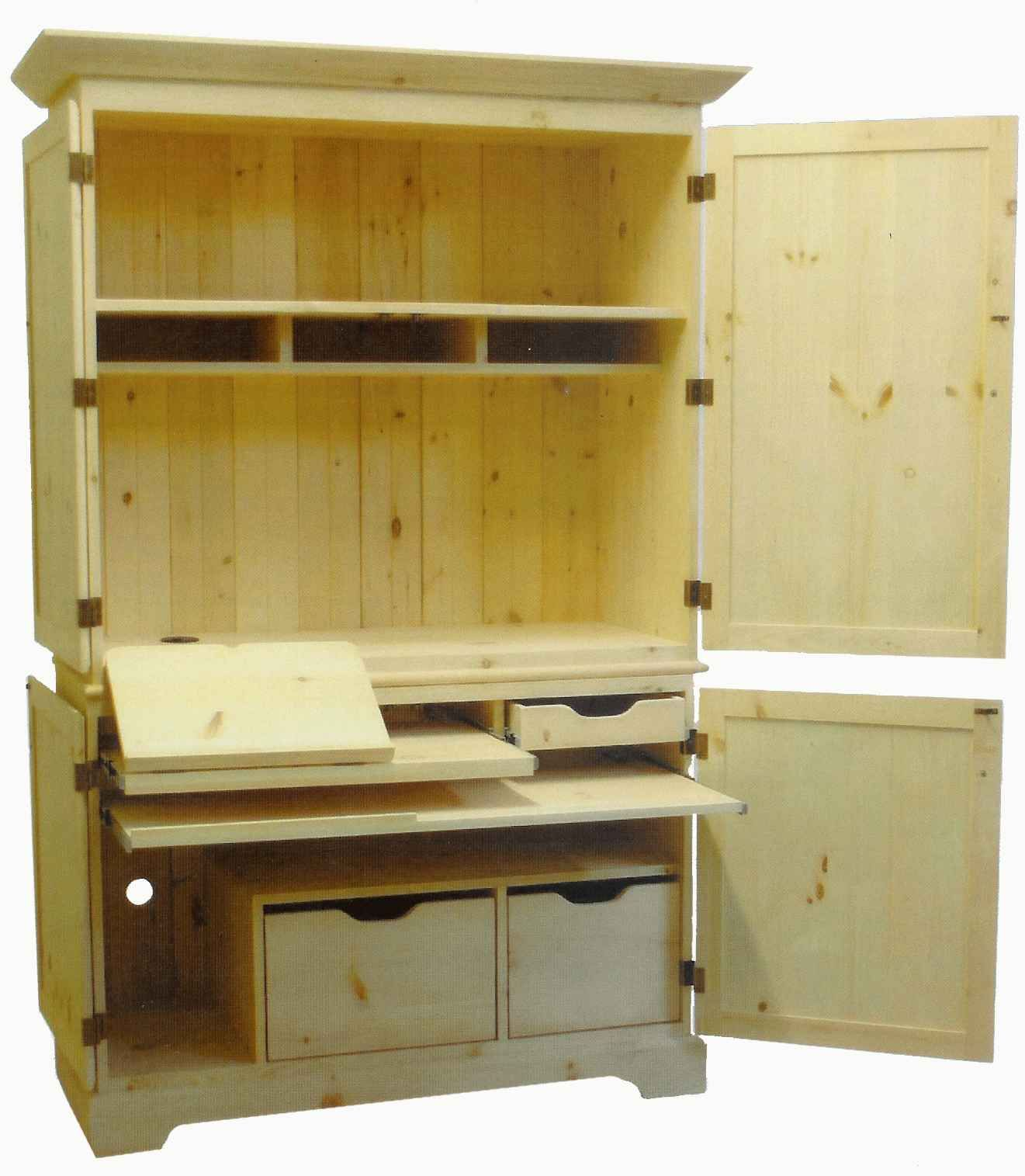 Unfinished Mission Style Computer Armoire With Hutch Home Decor - Computer desk with hutch plans