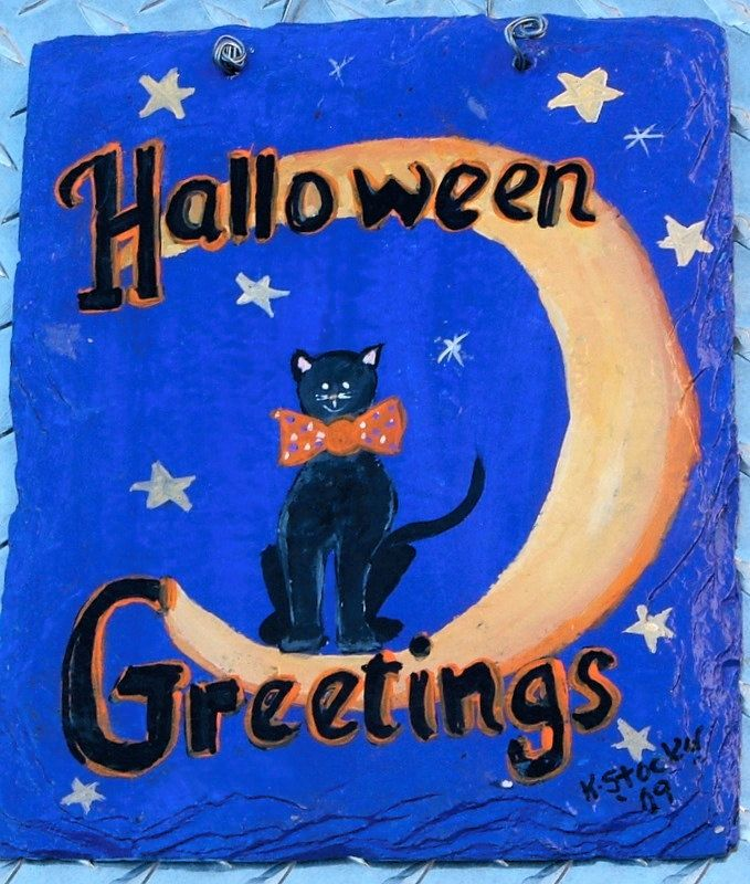 FREE US SHIPPING Outdoor Indoor Halloween Welcome Slate Plaque Black Cat Moon Halloween Greetings. $21.00, via Etsy.