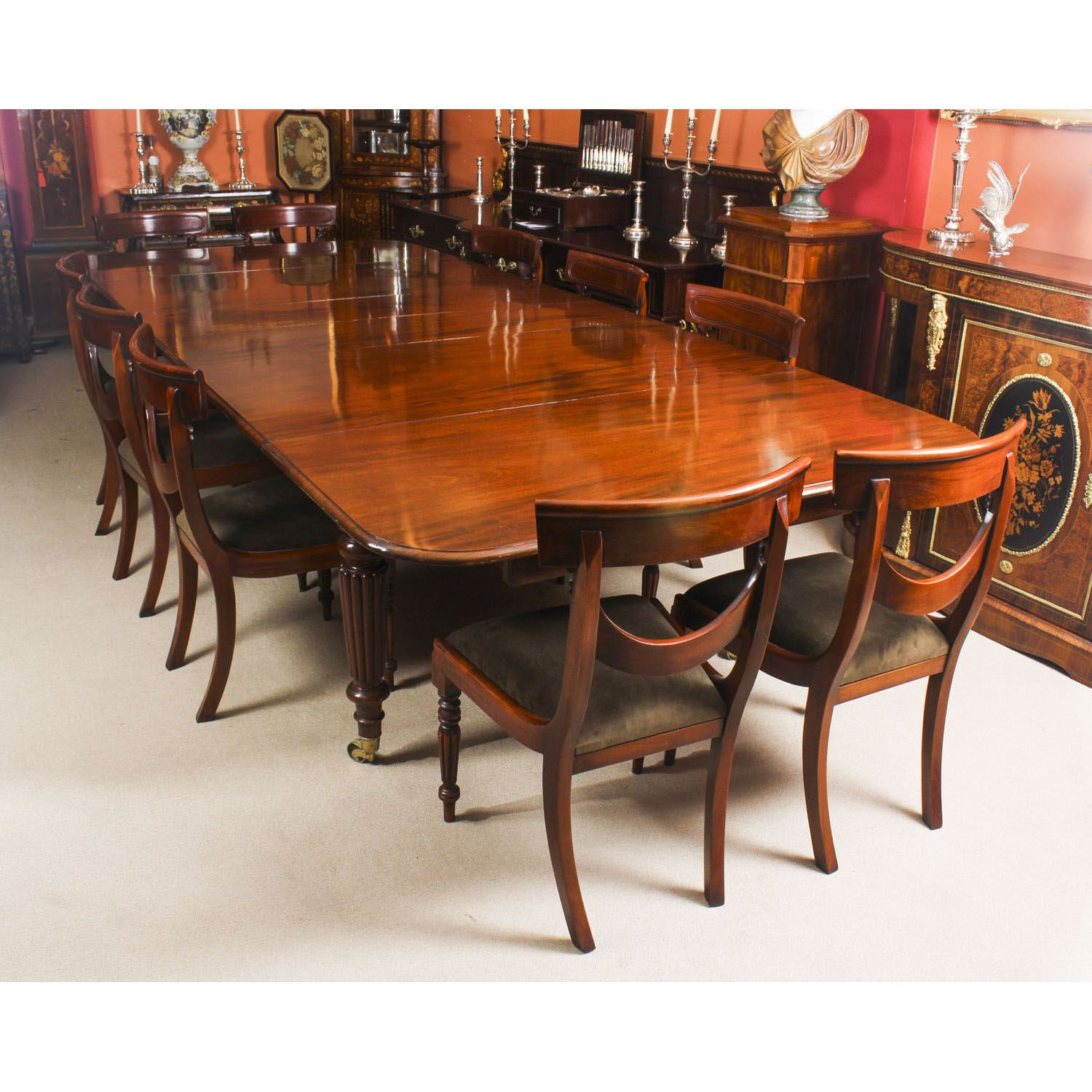 Antique 11 Ft Flame Mahogany Extending Dining Table C1840 10