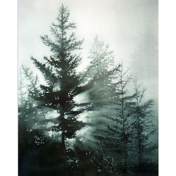 Pine Trees Watercolor Art Print Forest At Daybreak Morning Fog