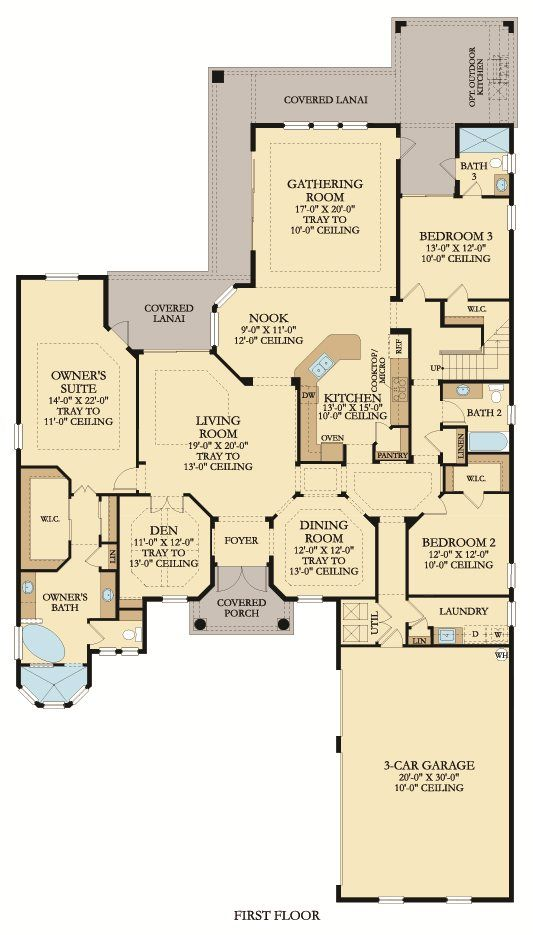 Santa Maria Floor Plan First Floor With A Large Covered Lanai Owner S Suite And Open Kitchen This Is The Ultimate Drea Floor Plans Palencia Gathering Room