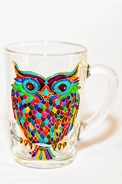 Owl Mug Painted Colorful Glass Mug Mothers Day Gift Owl