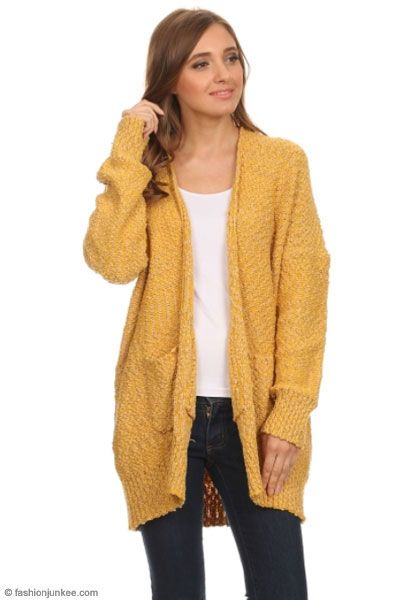 e01c342ec61 PLUS SIZE Long Sleeve Knit Open Front Cardigan Sweater with Pockets-Mustard  Yellow